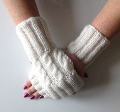 Ladies Cream Cable Stitch Hand Warmers. Hand knitted by sewmoira