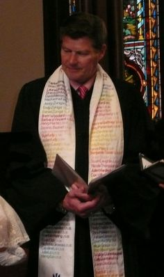 Stole with names of people baptized.... LOVE!  Also, stole made from woven prayers.  Theresa Cho is brilliant!