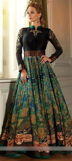 455794 Black and Grey,Green color family Anarkali Suits in Silk fabric with…