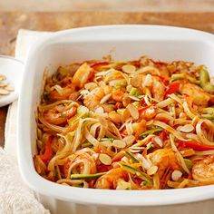 Load your casseroles with healthy nutrients by filling them with lean protein, veggies, and whole grains. A combo of shrimp, zucchini, peppers, carrots, and rice noodles helps keep this delicious casserole recipe low-cal./