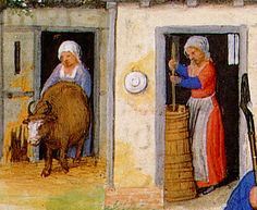 A woman drives a cow from the barn while another churns butter. She wears an outfit identical to that of the woman milking the cow, above (same woman?). In this front view we see no evidence of the black undergown. Is it, then really an undergown or simply a black insert?