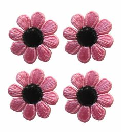 Lot 4Pcs Spring Pink Black Daisy Flower Embroidery Iron On Applique Patch