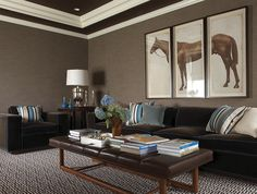 Lewis Interiors: Amazing basement family room with taupe grasscloth wallpaper, tray ceiling, horse ...