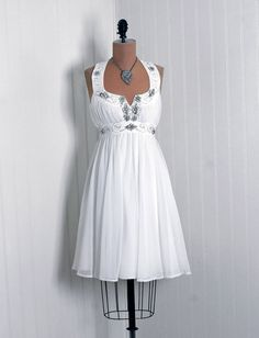 1960's Vintage Crisp-White Beaded Rhinestone Chiffon-Couture Empire Shelf-Bust Plunge Grecian-Goddess Bombshell Mod Mini Full Cocktail Dress $325
