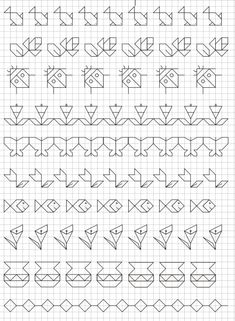 Reproduction Sur Quadrillage - Vase Blackwork Patterns, Blackwork Embroidery, Zentangle Patterns, Cross Stitch Embroidery, Embroidery Patterns, Cross Stitch Borders, Cross Stitching, Cross Stitch Patterns, Graph Paper Drawings