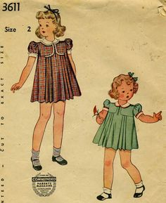 Vintage 40s Simplicity 3611 Toddler Girls Pleated Dress and Panties Sewing Pattern Size 2