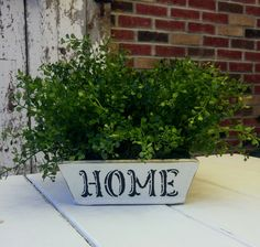 Chalk painted wood box with stencil. Renee's Redesigns