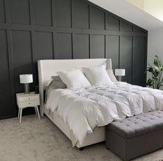Feature Wall Bedroom, Accent Wall Bedroom, Bedroom Wall Panels, Bedrooms With Accent Walls, Black Bedroom Walls, Black Accent Walls, Accent Walls In Living Room, Wainscoting Bedroom, Home Bedroom