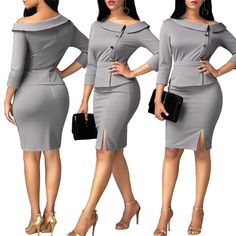 Elegant Office two piece Pencil Skirt Set Elegant Outfit, Classy Dress, Classy Outfits, African Wear, African Dress, African Fashion Dresses, Fashion Outfits, Official Dresses, Casual Dresses