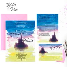 Printable Wedding Invitation Suite / Wedding Invite Set - CASTLE SUNSET,  This listing is for a print ready, high resolution, digital file for you to print at home or via professional print shop. This design is originally painted by myself and is not a COOKIE-CUTTING design you can get from the outside. I truly hope you can find your perfect wedding invitation design for your wedding!  Please note that NO PHYSICAL PRODUCTS will be sent. This listing also includes 2 rounds of revisions + ... Disney Wedding Invitations, Watercolor Wedding Invitations, Wedding Invitation Design, Invitation Suite, Invite, Watercolor Artwork, Perfect Wedding, Cookie, Castle