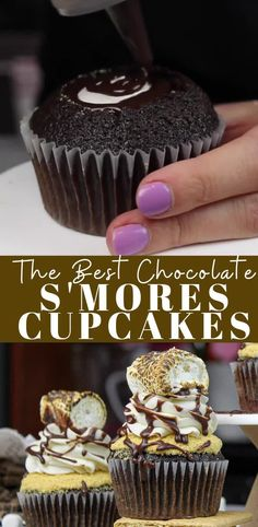 S'mores Cupcake Recipe: Moist Chocolate Cupcakes with Marshmallow Frosting - - Looking for an awesome smores cupcake recipe? These moist chocolate cupcakes are filled with a marshmallow cream, and topped with a toasted marshmallow! Marshmallow Cupcakes, Nutella Cupcakes, Gourmet Cupcakes, Smores Cupcake Recipe, Homemade Cupcake Recipes, Cupcake Flavors, Toasted Marshmallow, Baking Recipes, Dessert Recipes