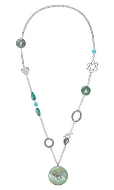 Jewelry Design - Single-Strand Necklace with Turquoise Gemstone Donuts and Antiqued Sterling Silver Components and Chain - Fire Mountain Gems and Beads