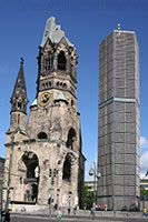 Kaiser Wilhelm Memorial Church, Berlin -- the ugly building beside this bombed out church is a new church....