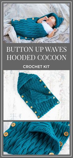 So soft. Button Up Waves Hooded Cocoon Crochet Kit, Crochet Pattern - Baby Cocoon Pattern - Newborn Photo Prop Pattern - Baby Sleep Sack Pattern - Baby Prop Crochet Pattern #crochet #crochetpattern #ad #diy #baby