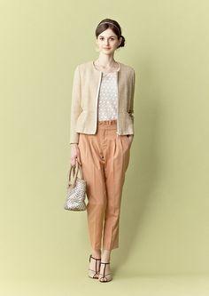 beige jacket & orange pants / La TOTALITE