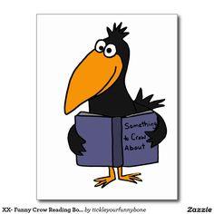 XX- Funny Crow Reading Book Cartoon Postcard