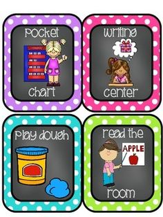 Editable Daily 5/Literacy Center Choice Cards with Chalkboard & White Centers in two sizes (4 per page and also full page) with Chevron & Polka Dot Backgrounds for each center