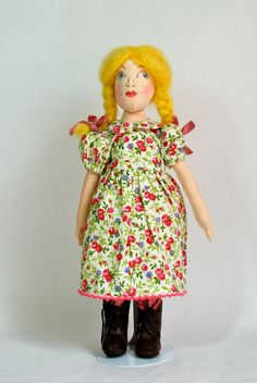 Goldilocks 12 inches cloth doll, story book doll, one of a kind doll, artist doll, collection doll.