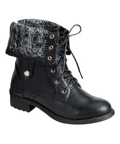 Another great find on #zulily! Black Fold-Over Knit Dason Boot #zulilyfinds