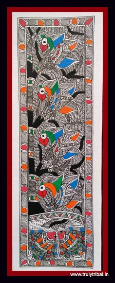 """""""Beautiful Classic Mithila motif - Fish & Bird motif on Kadamb Tree. This painting is pre-dominanently in Black & White with some colours thrown in between to highlight the element.  This Madhubani paintings is made by state Awardee artist on handmade paper by natural colours. Size: 7*15 inches"""""""
