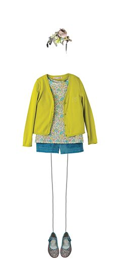 Adelie blouse Lime Liberty CARDIGAN MANCHES LONGUES TILLEUL Alexia shorts Turqoise green Ella Mary Janes Multicoloured