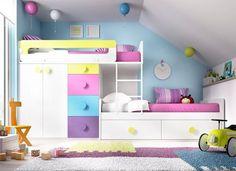 Rimobel Mundo Joven contemporary bunk bed with 6 drawers and a 2 door wardrobe