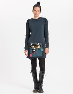 Vittoria Dress / Women / 97% Organic Cotton, 3% EA / 01/ 8483 Green Blue + Campeggio - CHI - Re-Bello
