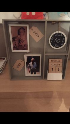 Geschenkbord 60jaar! Met alles uit de action Party Gifts, Diy Gifts, Abraham And Sarah, Make A Gift, Diy And Crafts, Birthdays, Presents, Homemade, Frame