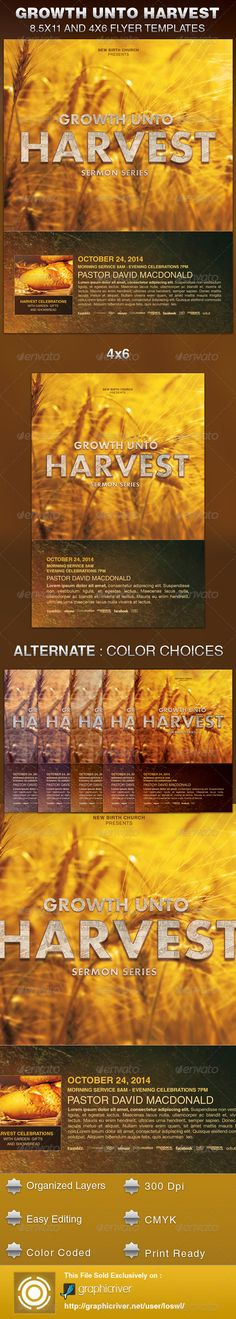 Harvest Thanksgiving Church Flyer Template Inviti, Festival e - christian flyer templates