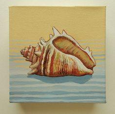 Beach Scene Painting, Seashell Painting, Seashell Art, Seascape Paintings, Cool Paintings, Original Paintings, Original Art, Acrylic Paintings, Abstract Canvas