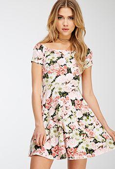 Boat Neck Floral Print Dress   FOREVER21 - 2000135610