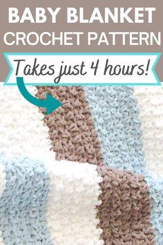 Baby Afghan Crochet Patterns, Crochet Stitches For Blankets, Baby Boy Crochet Blanket, Baby Boy Blankets, Baby Patterns, Baby Afghans, Crocheted Afghans, Knitting Patterns, Crochet Yarn