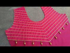 How to mack a very easy and creative dori neck designs 2018 and designs – dressideas Chudidhar Neck Designs, Salwar Neck Designs, Churidar Designs, Kurta Neck Design, Blouse Back Neck Designs, Neckline Designs, Fancy Blouse Designs, Stylish Blouse Design, Sleeve Designs