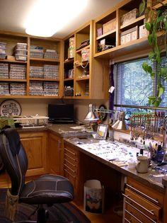 my studio. jewelry making studio - lots of light & storage --- You mean heaven?Ojewelry making studio - lots of light & storage --- You mean heaven? Bead Storage, Craft Room Storage, Craft Rooms, Space Crafts, Home Crafts, Workspace Desk, Art Studio Organization, Organization Ideas, Kitchen Organization