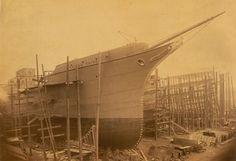 'Trojan Prince' nearing completion | iew of the cargo ship 'Trojan Prince' on the berth at the shipyard of John Readhead & Sons Ltd, South Shields, 1896 (TWAM ref. 1061/974).