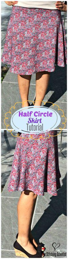 Sewing Skirts How to make a half circle skirt Sewing Patterns Free, Clothing Patterns, Sewing Tutorials, Sewing Projects, Dress Tutorials, Sewing Ideas, Diy Clothing, Sewing Clothes, Sewing Coat