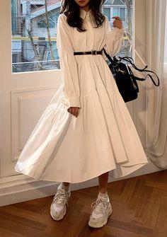 Korean Girl Fashion, Ulzzang Fashion, Muslim Fashion, Modest Fashion, Fashion Dresses, Ulzzang Style, Mode Outfits, Retro Outfits, Stylish Outfits