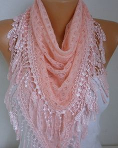 Salmon Knitted Lace Scarf Shawl Cowl Oversized by fatwoman on Etsy