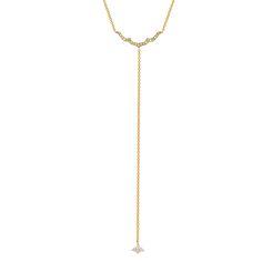 "Small TAJ Lariat || Small Taj Lariat Necklace with White Diamonds on a 16 + 2″"" Necklace and 4″ Drop Chain with Small 4 Diamond Cluster || Gold: 18k- TDW || #SaraWeinstockJewelry #SWGem"