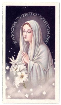 Virgin Mary with Praying Hands Stars and Lilies Vintage Holy