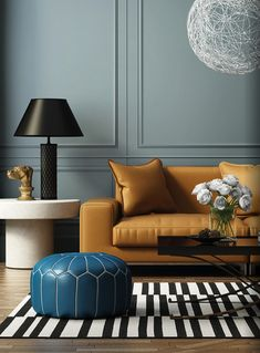 Stunning colour combo with mustard yellow and shades of blue. Simple and British, with a modern twist!