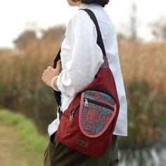 Canvas Chest Shoulder Bag Ethnic Vintage Floral Print Crossbody Messenger Bags Handbag
