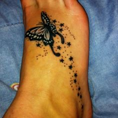 Butterfly with stars tattoo 😍😍 Butterfly Foot Tattoo, Butterfly Tattoos For Women, Butterfly Tattoo Designs, Ankle Tattoos, Mom Tattoos, Body Art Tattoos, Sleeve Tattoos, Tatoos, Star Foot Tattoos