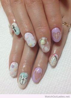 Cute pastel goth nails