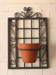 Quadro decorativo para vaso em ferro