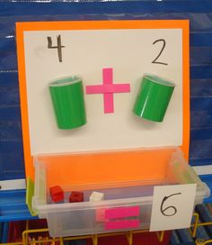 Wish I had these math addition cups when I was in school! Great hands on activity that shows math in a very visual way. Sweet Sounds of Kindergarten Math For Kids, Fun Math, Math Games, Preschool Activities, Dice Games, Therapy Activities, Kindergarten Classroom, Teaching Math, Kindergarten Addition