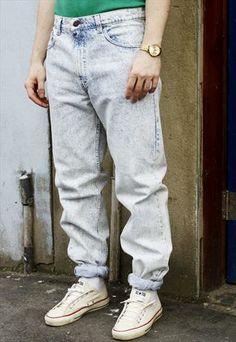 Vintage 80s Levi's 505 Acid Wash Blue Denim Jeans