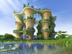 Image 1 of 29 from gallery of Vincent Callebaut's Hyperions Eco-Neighborhood Produces Energy in India. Photograph by Vincent Callebaut Architectures Architecture Durable, Green Architecture, Futuristic Architecture, Sustainable Architecture, Amazing Architecture, Sustainable Food, Environmental Architecture, Pavilion Architecture, Chinese Architecture