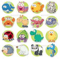 Buy Animals Set by SARAROOM on GraphicRiver. Vector illustration of Animals set Cartoon Cute Vector, Free Vector Images, Vector Free, Animals Vector, Bear Vector, Sick Boy, Cartoon Chicken, Ladybug, Illustration