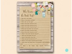 Love Birds Bridal Shower Games Who knows the by MagicalPrintable